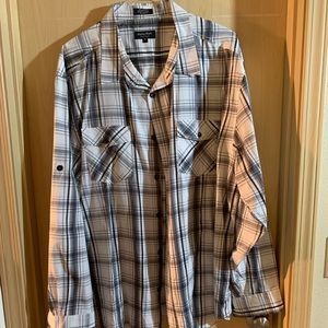 Gray, black and white plaid dress shirt.